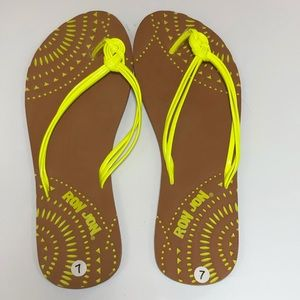 Shoes - Ron Jon neon yellow flip flops